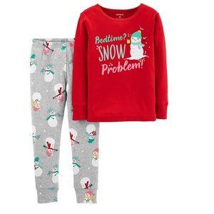 Carter's glittery snowman pajamas